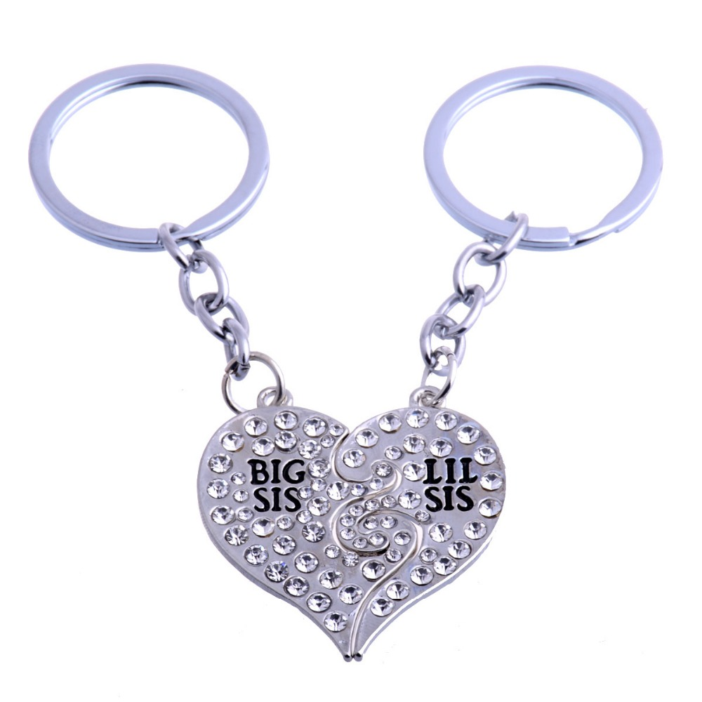 Big Lil Sis Love Broken Heart 2PC/Set Crystal Sister Gifts Keyring Best Friends Keychain Women Friendship Key Chain BFF Female