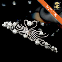 High quality bride copper crown inlaid zircon aristocratic temperament young fashion beautiful generous wedding dress Swan pearl