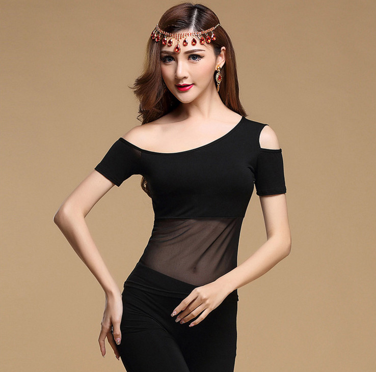 Sexy Modal Black Mesh Eastern Oriental Belly Dance Tops Shirt Costume For Women Bellydance Dancing Clothes Dancer Wear Clothing