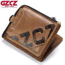 GZCZ Top Genuine Leather Men Wallets Removable Card & ID Holders with Key Chain Short Bifold Male Organizer Walets Coin Bags