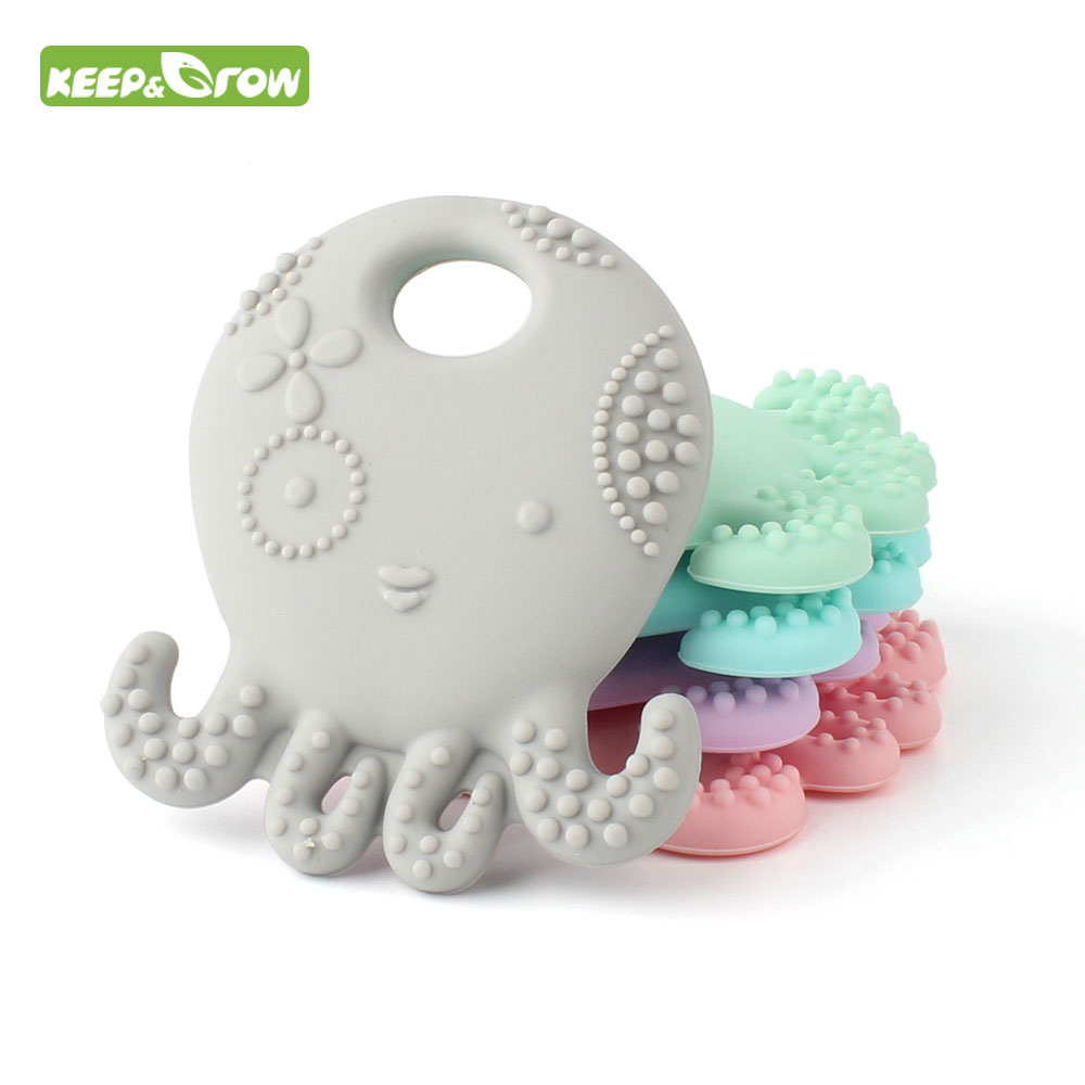 KEEP&GROW Octopus Silicone Teether BPA Free Mordedor Silicona Soother Chain Baby Teething Toys DIY Necklace Teething Pandent