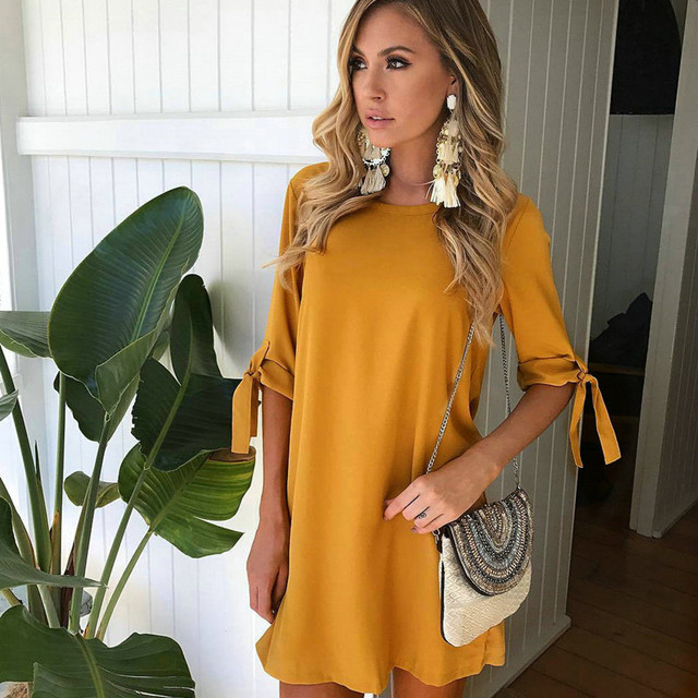 Fashionable Women'S Shoes Clothing Casual Short Sleeve ONeck Yellow Purple Green Dresses Loose Plus Size Long