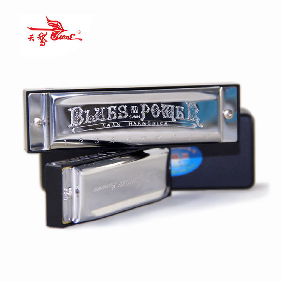 2019 Harmonica SWAN Senior Bruce 10 Hole BLUES  With Case Brass Stainless Steel