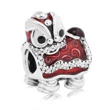 Danza del león chino silver charm en red beads fit pandora pulseras originales 925 de plata del grano para la mujer pulseras diy al por mayor