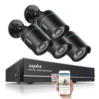 SANNCE 4CH Output Onvif Supported DVR Waterproof 720P 1.0MP Night Vision Camera CCTV System Surveillance Kits With 4 Cameras