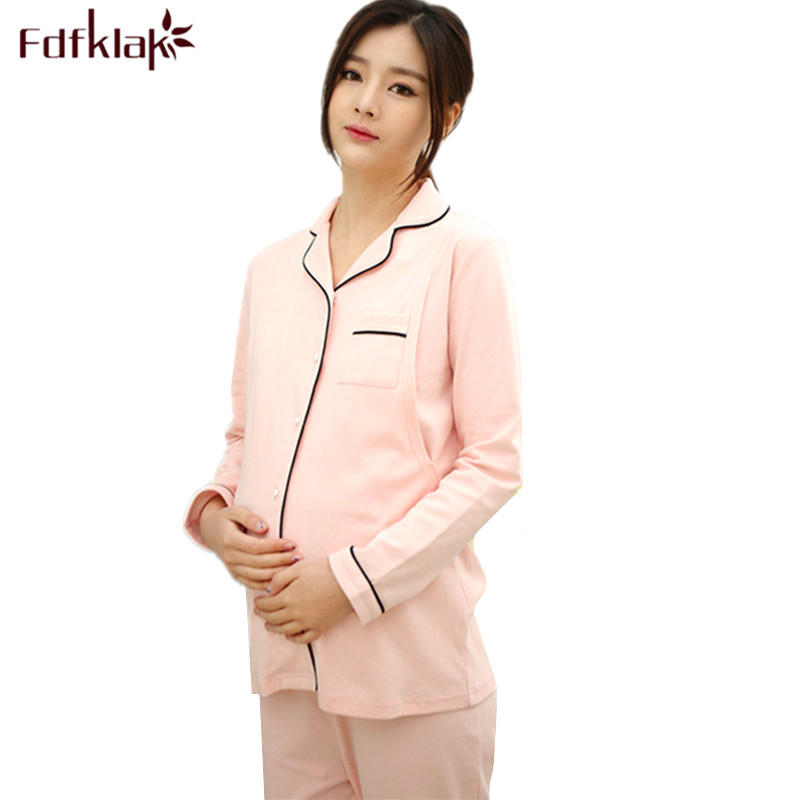 Fdfklak High Quality Cotton Pajamas Women Breastfeeding Clothes Pajama for Pregnant Long Sleeve Maternity Pyjama Nightwear Set Fdfklak High Quality Cotton Pajamas Women Breastfeeding Clothes Pajama for Pregnant Long Sleeve Maternity Pyjama Nightwear Set