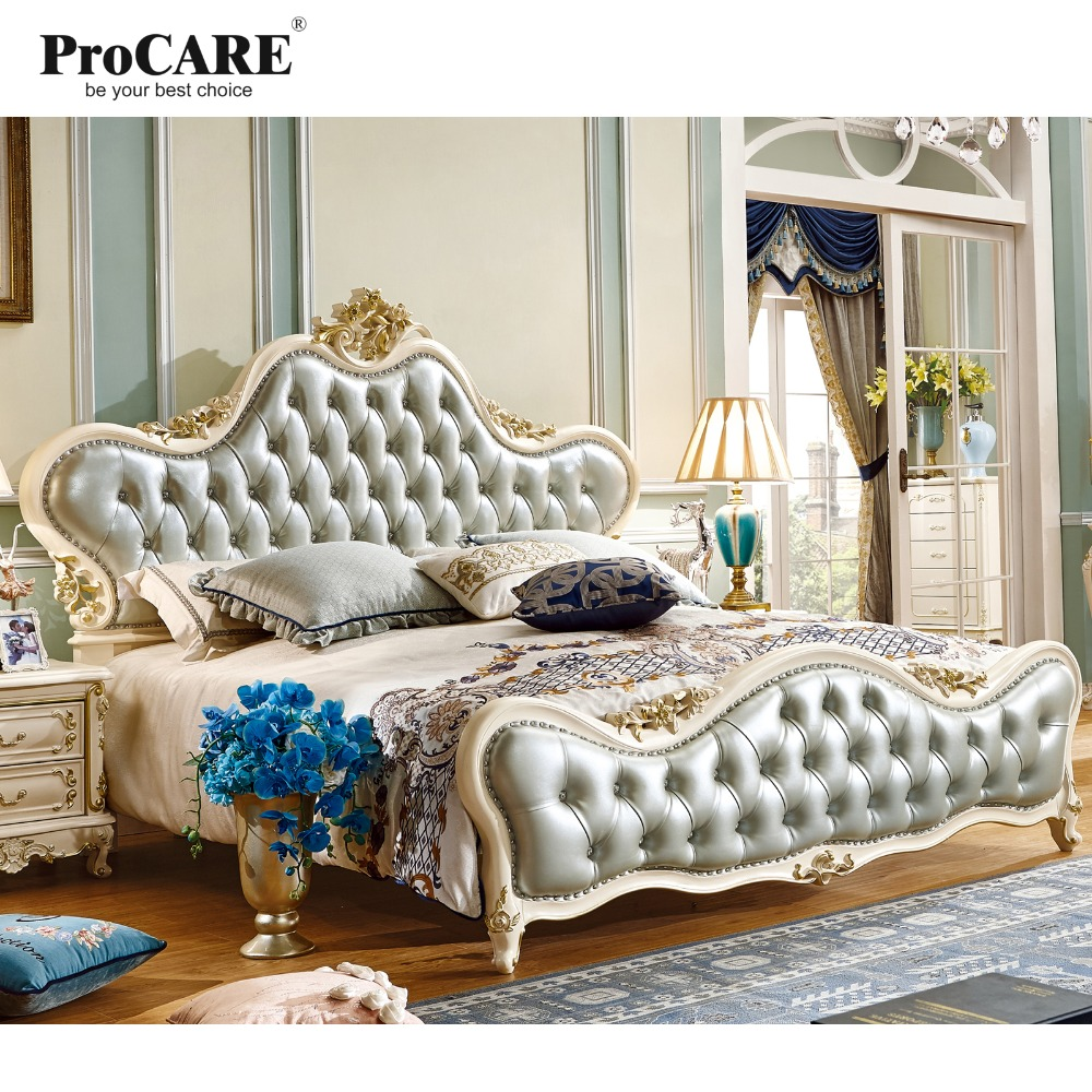 luxury European and American style bedroom furniture solid wood leather king size bed