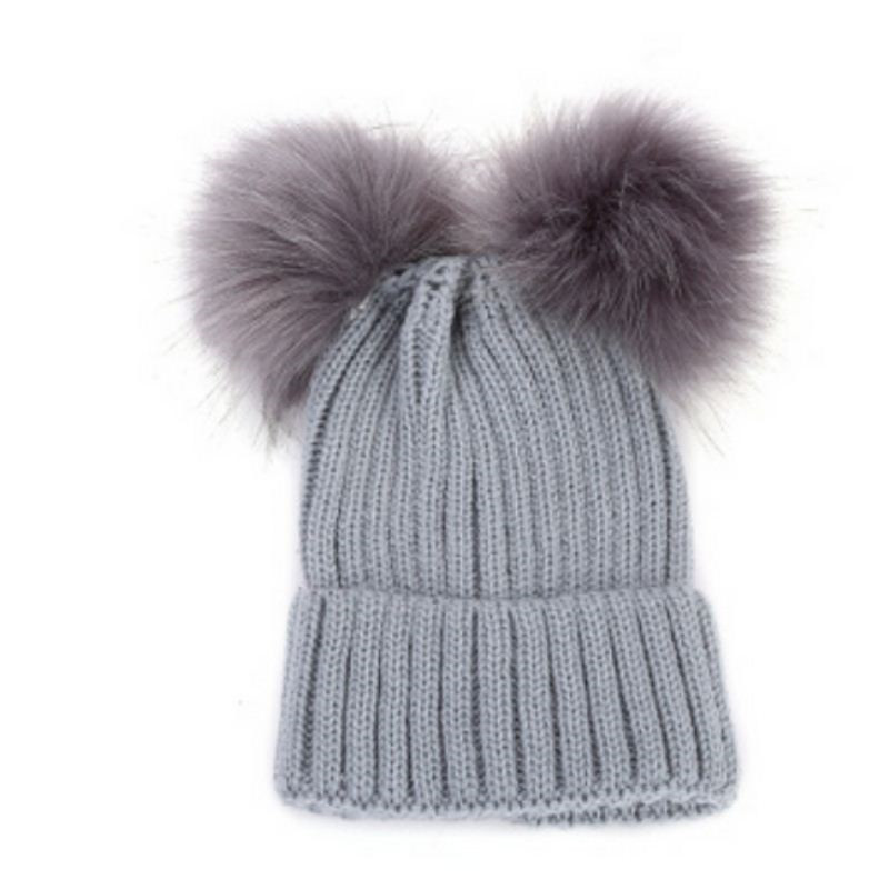 738a77056 Newborn Kids Baby Boy Girl Double Fur Pom Hat Winter Warm Knit ...