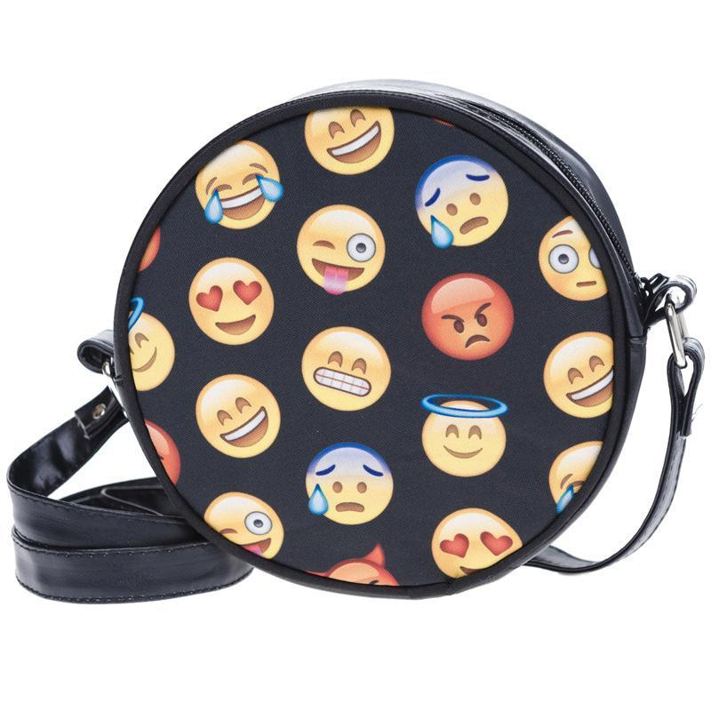 Emoji Printing Cross Body Bag for Girls Cute Black PU Leather Cartoon Pattern Shoulder Handbags Round Bag Ladies Casual Bolsa
