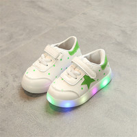 Leather Sneakers Kids LED Shoes Boys Girls Spring Fall Stars Lighted Shoes Children Casual Leather Hook