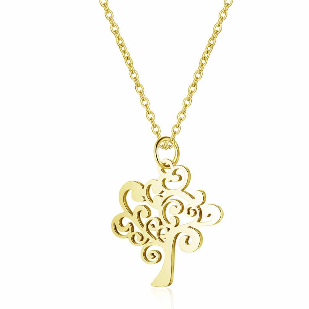 100% ze stali nierdzewnej życie z drzewa Charm naszyjnik Vnistar prosta konstrukcja drzewo genealogiczne wisiorek naszyjniki kobiety biżuteria naszyjnik