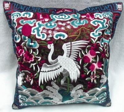 Полностью вышитые китайские наволочки для подушек, рождественские декоративные этнические винтажные сатиновая подушка для дивана и стула - Цвет: burgundy