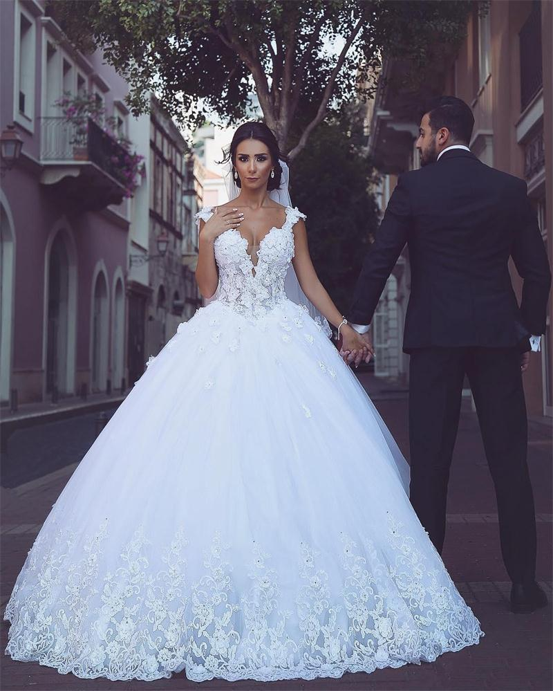 vestido de novia 2017 glamorous saudi arabia ball gown wedding dresses 3d appliques beaded lace up wedding dress robe de mariage