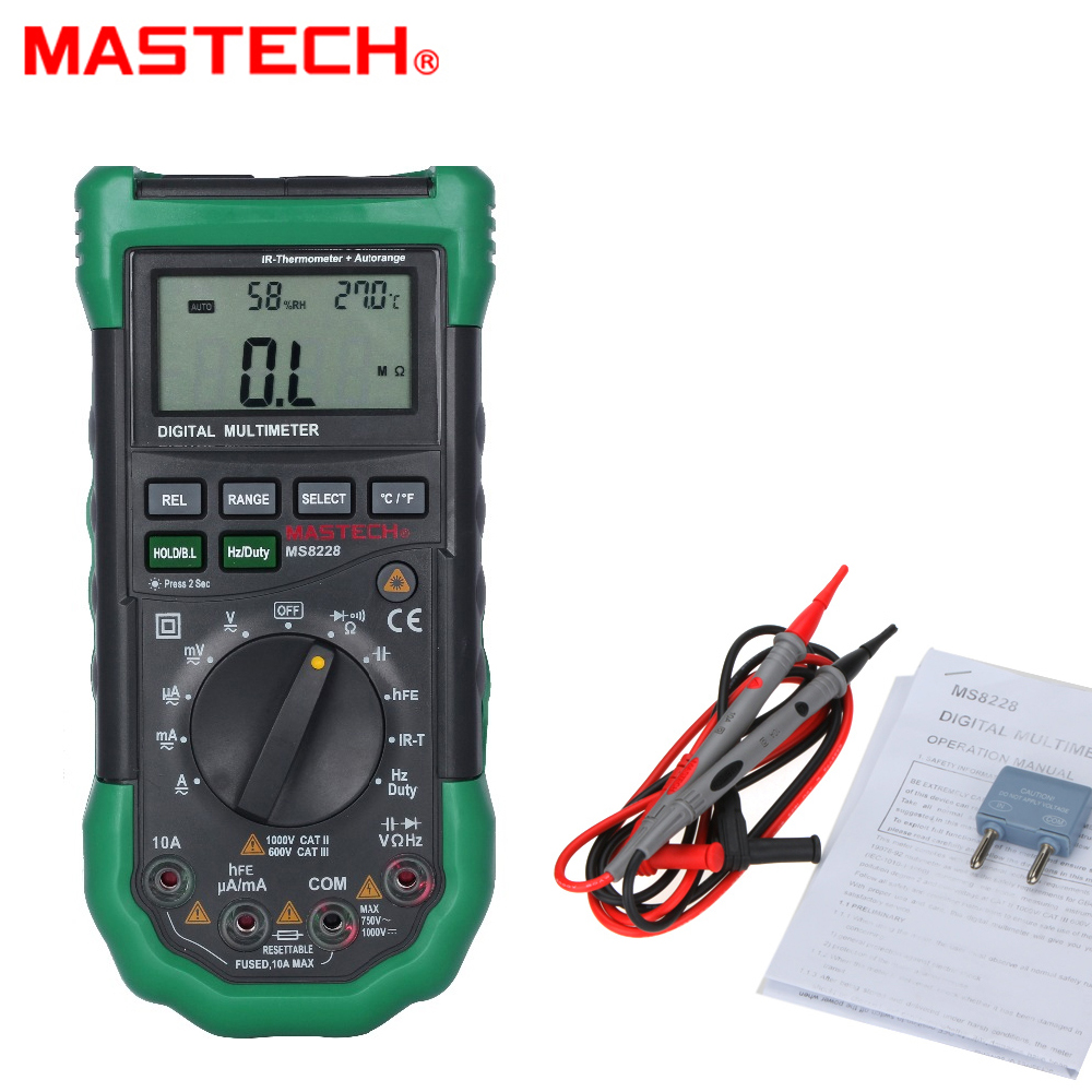 MASTECH MS8228 Automatic range 4000 Counts Digital Multimeter Non-Contact IR Thermometer Relative Humidity Tester mastech ms8260f 4000 counts auto range megohmmeter dmm frequency capacitor w ncv