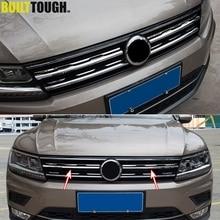 Chrome Front Mesh Grill Bumper Cover For VW Tiguan Mk2 2016 2017 2020 Trim Insert Bonnet Garnish Molding Styling Guard Protector