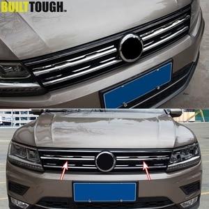 Image 1 - Chrome Front Mesh Grill Bumper Cover Voor Vw Tiguan Mk2 2016 2017 2020 Trim Insert Motorkap Garneer Molding Styling guard Protector