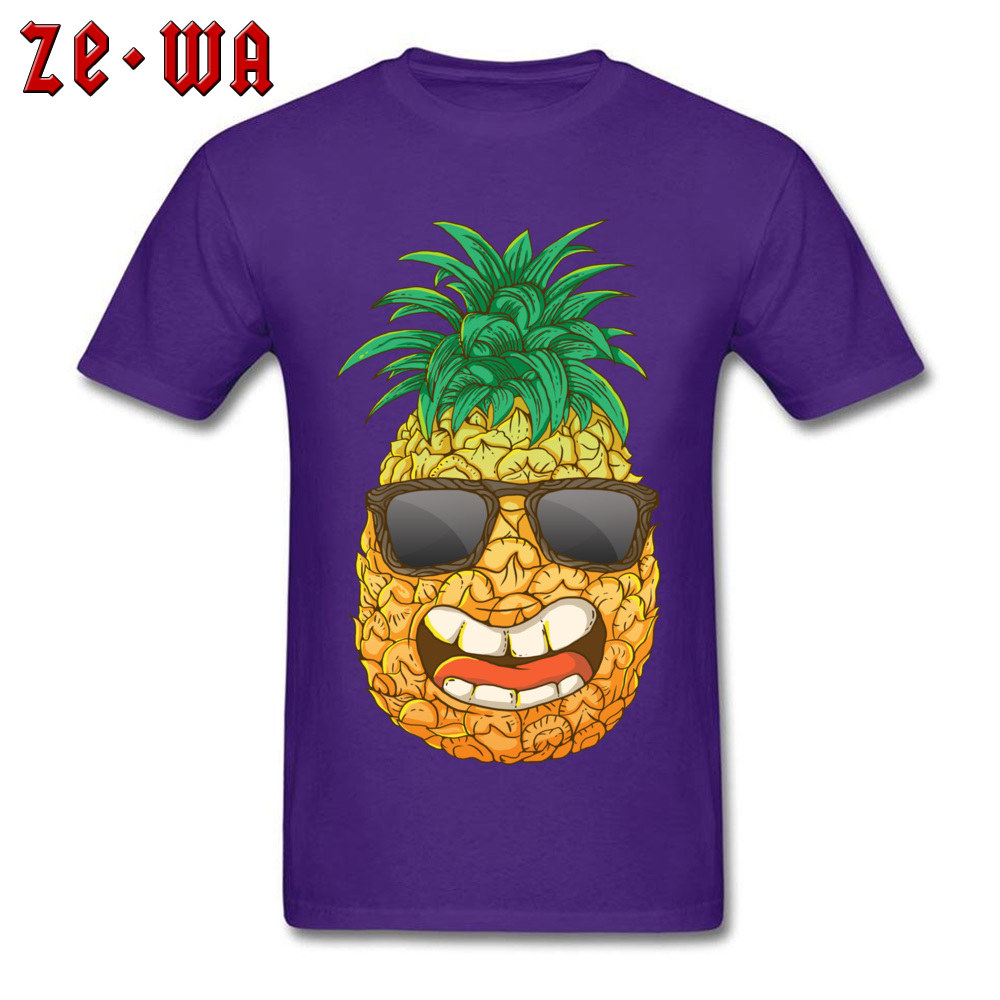 Cool Pineapple Round Neck Top T-shirts Labor Day Tops Shirts Short Sleeve Special Cotton Cool Tops & Tees Custom Student Cool Pineapple purple
