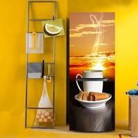 Yazi Afternoon Thee HD Gedrukt PVC Zelfklevende Koelkast Deur Cover Sticker Behang Beschermen Papier 60x150 cm 60x180 cm