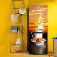 Yazi Afternoon Tea PVC Self Adhesive Refrigerator Door Cover Sticker Wallpaper Contact Paper 60x180cm