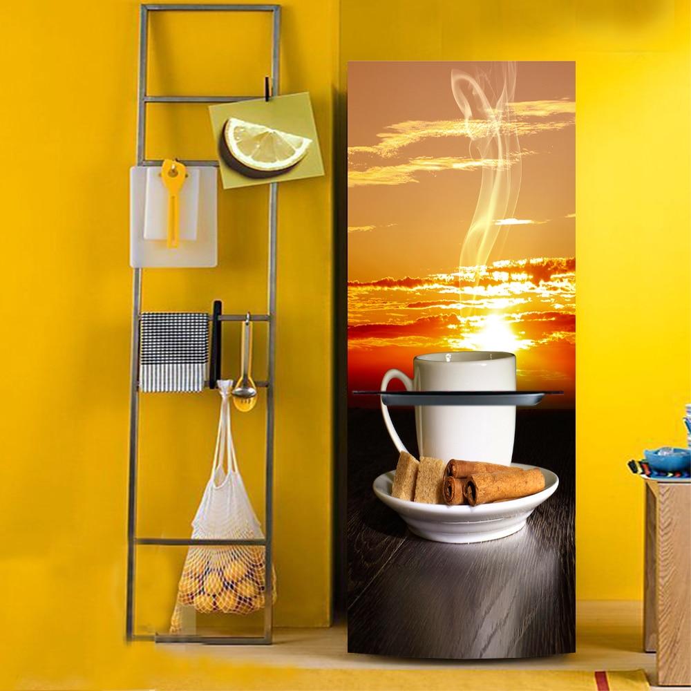 yazi Afternoon Tea HD Printed PVC Self Adhesive Refrigerator Door Cover <font><b>Sticker</b></font> Wallpaper Protect Paper 60x150cm 60x180cm