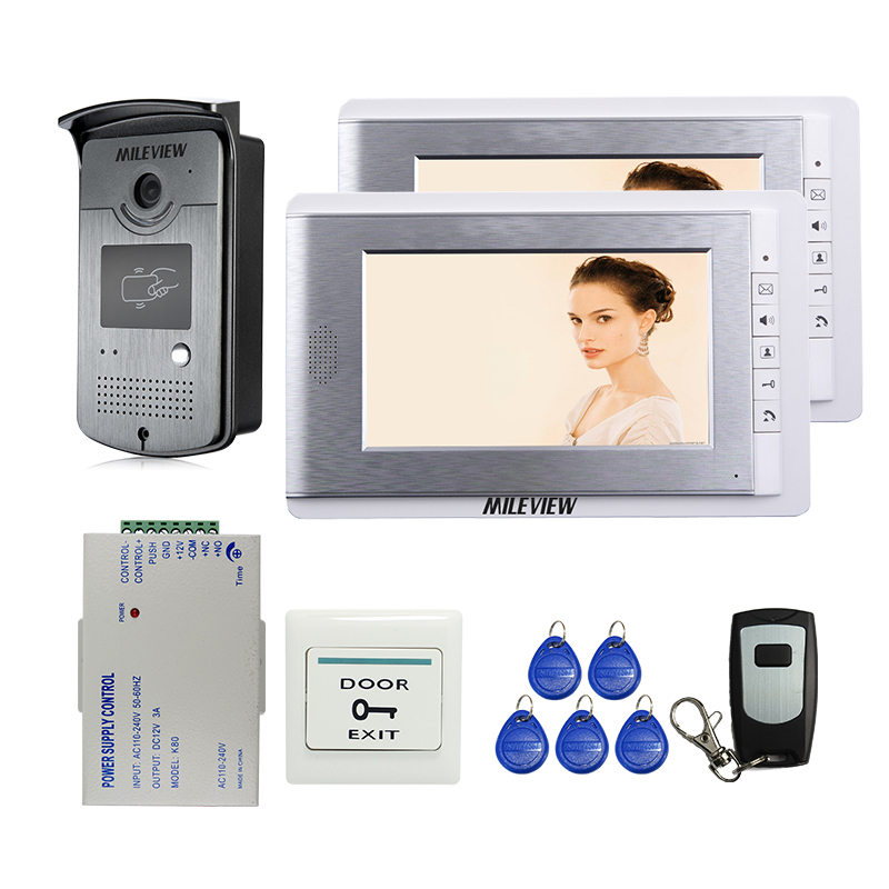 MILEVIEW Wired 7 Video Door Phone Video Intercom Doorbell Entry System 2 Monitors RFID Camera + Remote Control FREE SHIPPING