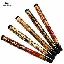 JINHAO 5000โกลเด้น18KGP Mปลายปากกาปากกาน้ำพุมังกรแกะสลักของโรงเรียนสำนักงานการเขียนปากกาปากการ้อน