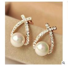 wholesale 5Pair 10single pendientes oorbellen Earrings Hot style earring cross the pearl stud fashion accessories