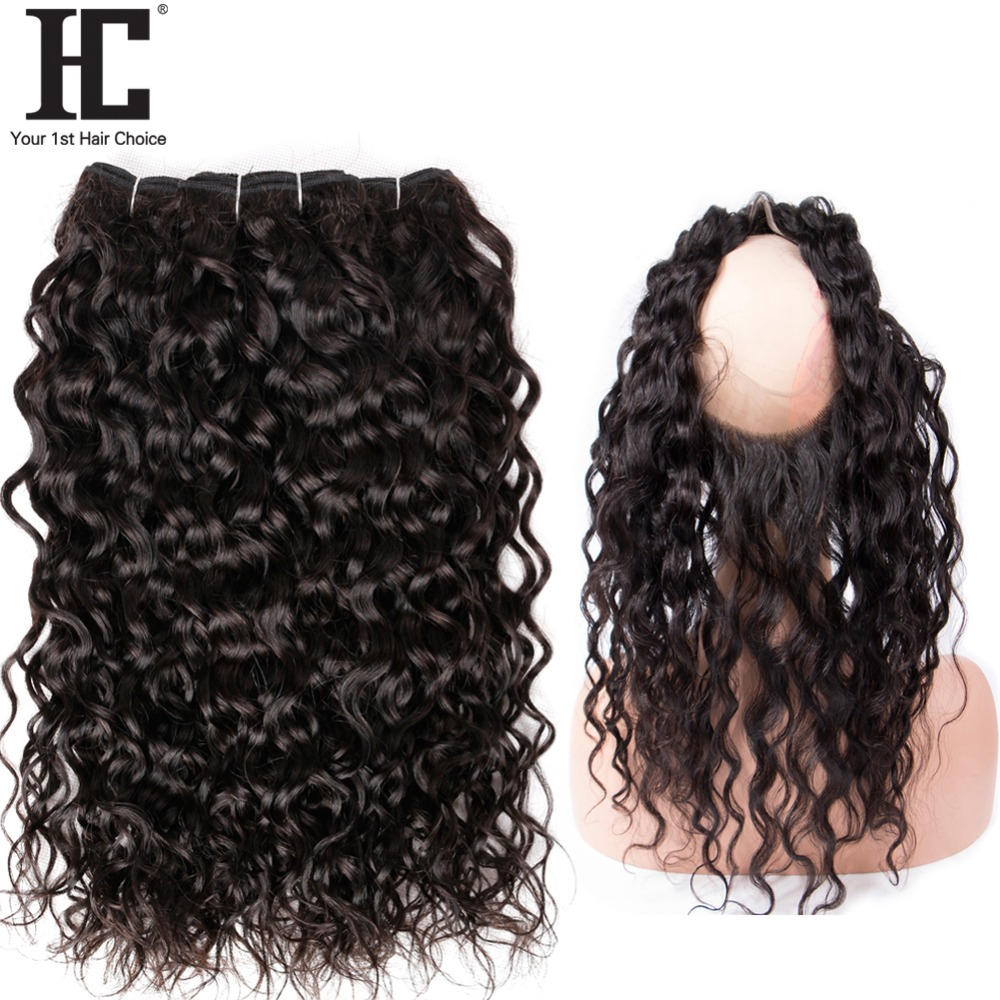 Hot Sale Hc Pre Plucked 360 Lace Frontal With Malaysian Water Wave