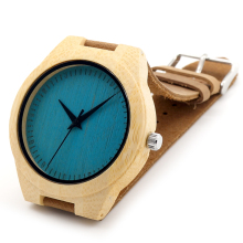 BOBO BIRD Blue or Yellow Dial Japanese miyota 2035 movement wristwatches genuine leather bamboo wooden watches