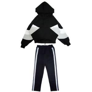 Image 5 - Fashion Girls Clothing Set Hooded Sport Set for Teenagers Striped Black Tracksuit Children Clothes 2019 Korean Kids Clothes Set