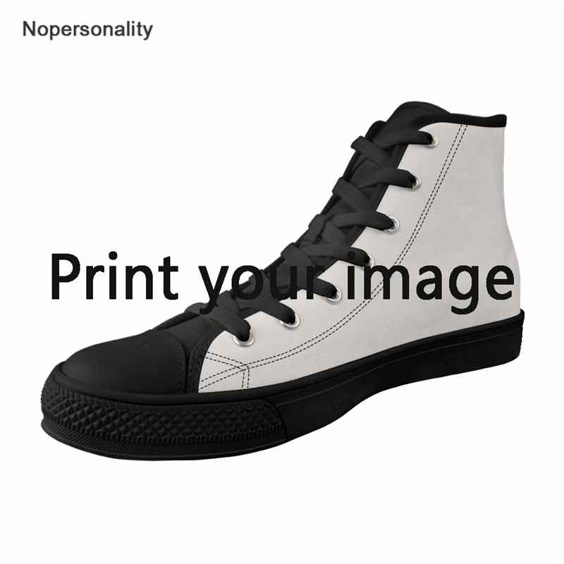 Nopersonality Men s Vulcanize Shoes Leisure High top Canvas Shoes Custom Your Image Male Shoes Lace