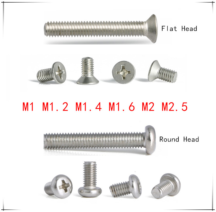 M2 Phillips Head Round Pan Head Machine Screws 3,4,5,6,8,10mm Nickel Plated
