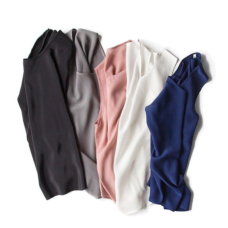 Camisa de seda sin mangas 100% camisa de seda natural Tanques de gasa - Ropa de mujer - foto 2