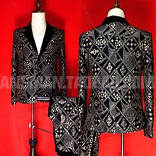 2019 new European and American men's personality suit stage male singer DJDS retro gold geometric embroidery slim suit costume s new black men s blazers suit long sleeve gold appliques stage singer performance costume include jacket vest tie