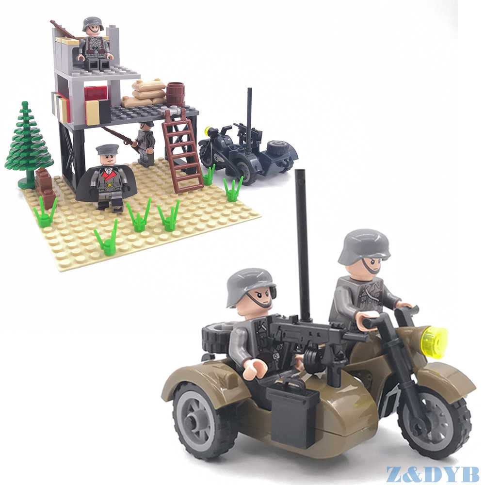 Single Sale WW2 Motorcycle Soldiers Military Figures Guns Army Weapons Accessories Kits Legoed Building Block Brick Children Toy