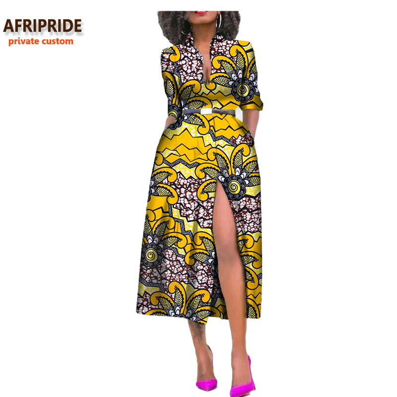 2019 summer women african dress AFRIPRIDE private custom side open sexy mid calf length dress 100