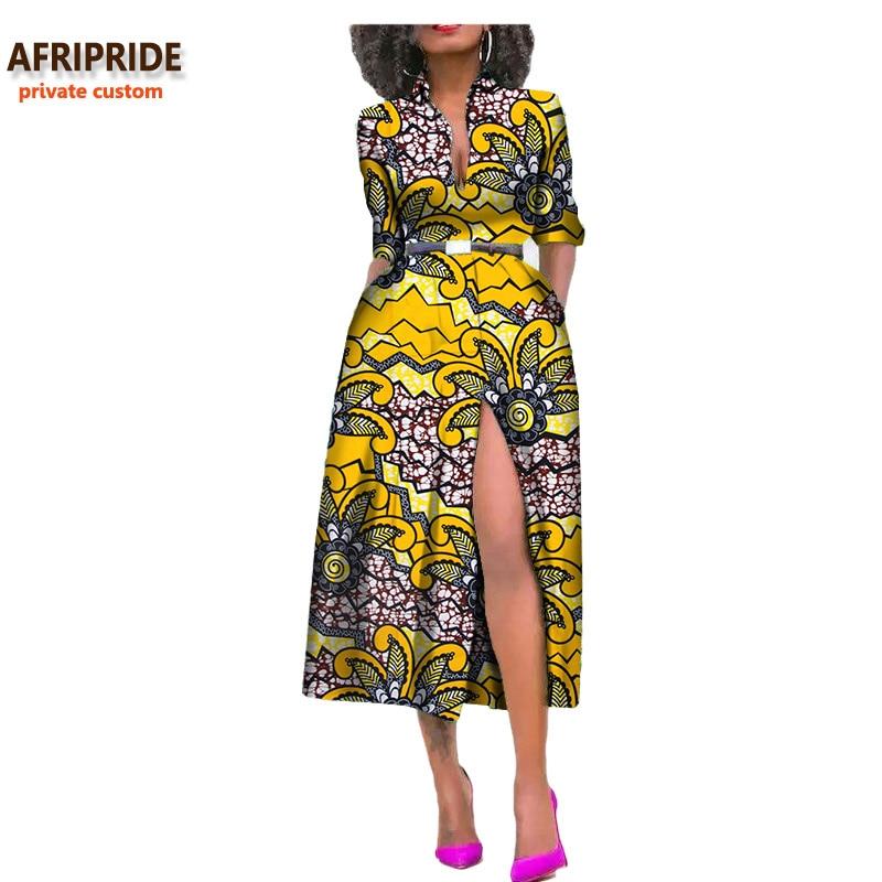 2019 summer women african dress AFRIPRIDE private custom side open sexy mid calf length dress 100