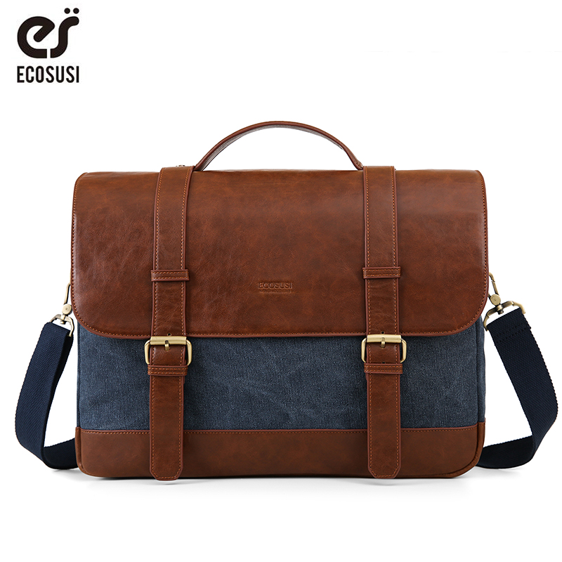 ECOSUSI Laptop Bag 15.6 Inch Men's Shoulder Bag Briefcase Men Leather PU  Bag Famous Brand New Fashion Man Messenger Bag For Man