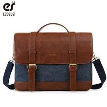 цена на ECOSUSI Vintage Men's Briefcase 15.6 Inch Laptop Shoulder Bags Canvas PU Leather Male Messenger Bags Satchel Computer Bags