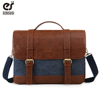 ECOSUSI Vintage Men's Briefcase 15.6 Inch Laptop Shoulder Bags Canvas PU Leather Male Messenger Bags Satchel Computer Bags
