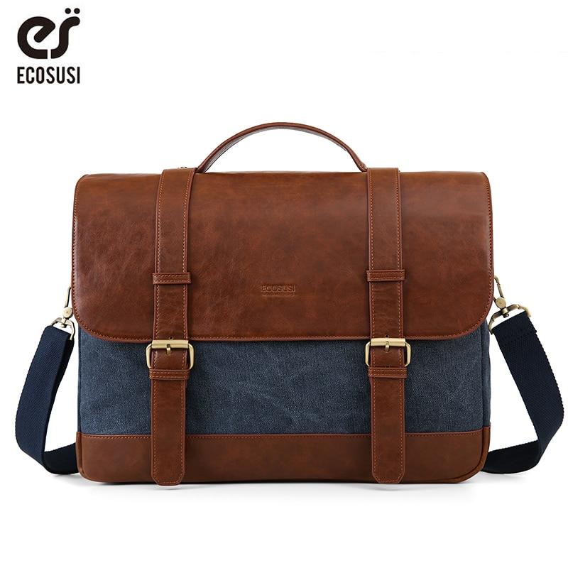 ECOSUSI Vintage hommes serviette 15.6 pouces ordinateur portable sacs à bandoulière toile PU cuir mâle Messenger sacs sacoche ordinateur sacs