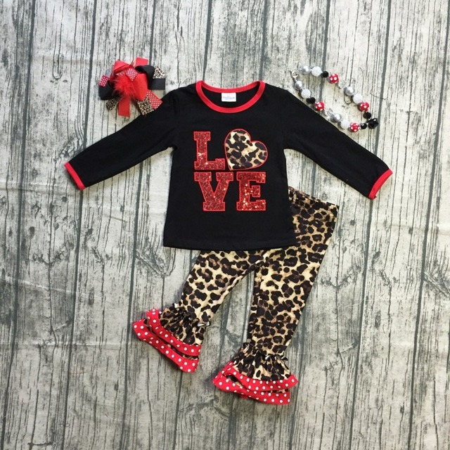 ec21a912965 baby girls Valentine's day clothes children black top with sequin leapord  heart print top leapord pants outfits with accessories