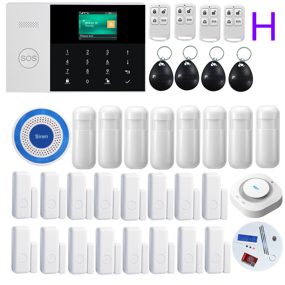 PGST 433MHZ Wireless LCD Touch Keyboard WIFI GSM GPRS Home Security Alarm system APP Remote Control Siren RFID card Arm Disarm
