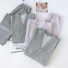 מוצק צבע יפני 100% כותנה זוגות בית קימונו סט גברים ונשים V צוואר פיג מה אביב דק פיג Loungewear הלבשת