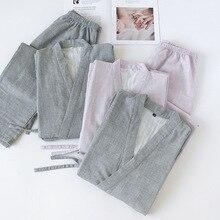 Di Colore solido Giapponese 100% Cotone Coppie di Casa Kimono Set Gli Uomini e Le Donne Con Scollo A V Pigiama Primavera Sottile Pigiama Pigiama Degli Indumenti Da Notte