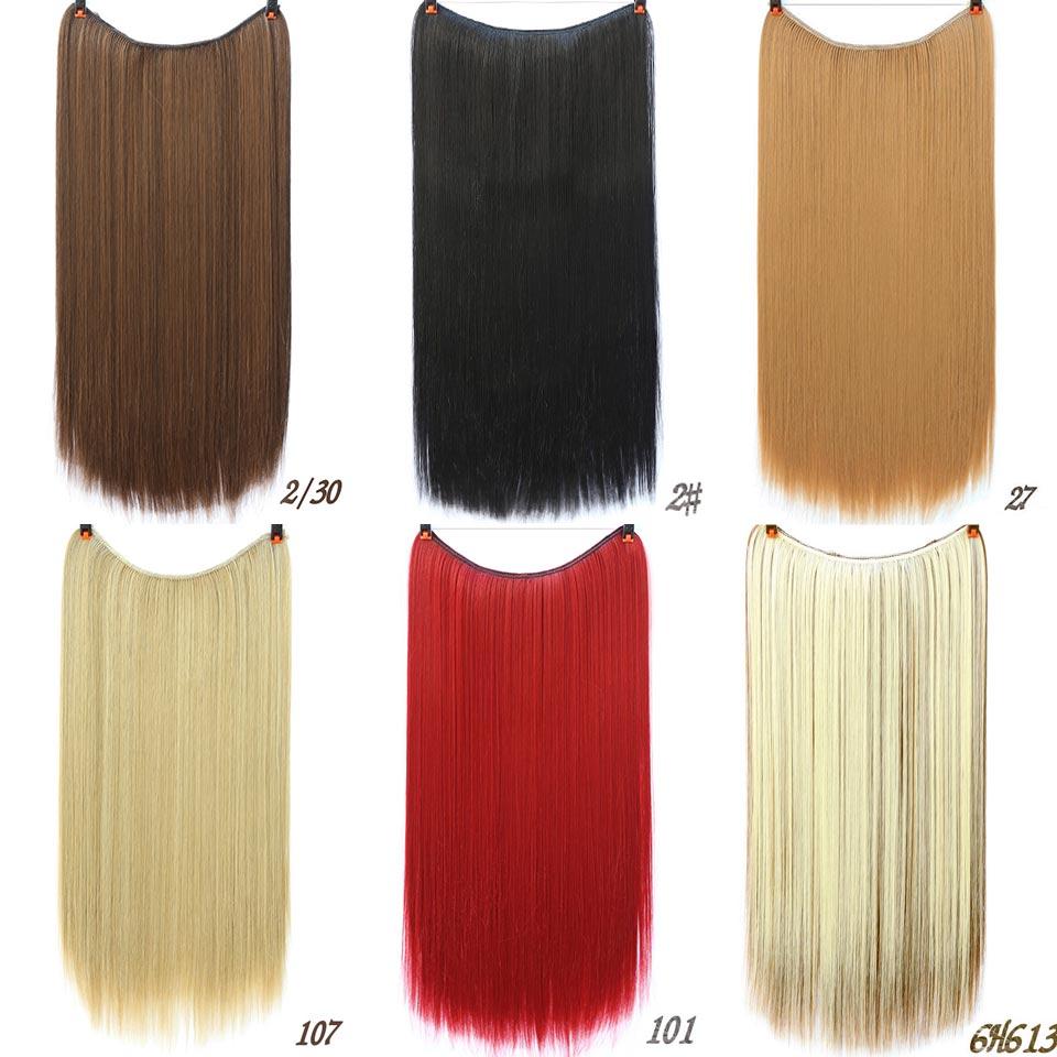 AOSIWIG Långt hår Fisklinje Vågigt hårförlängningar Hemliga - Syntetiskt hår - Foto 5