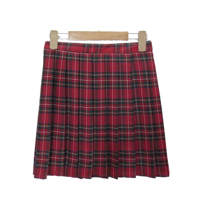 Japanese college high waist plaid skirt
