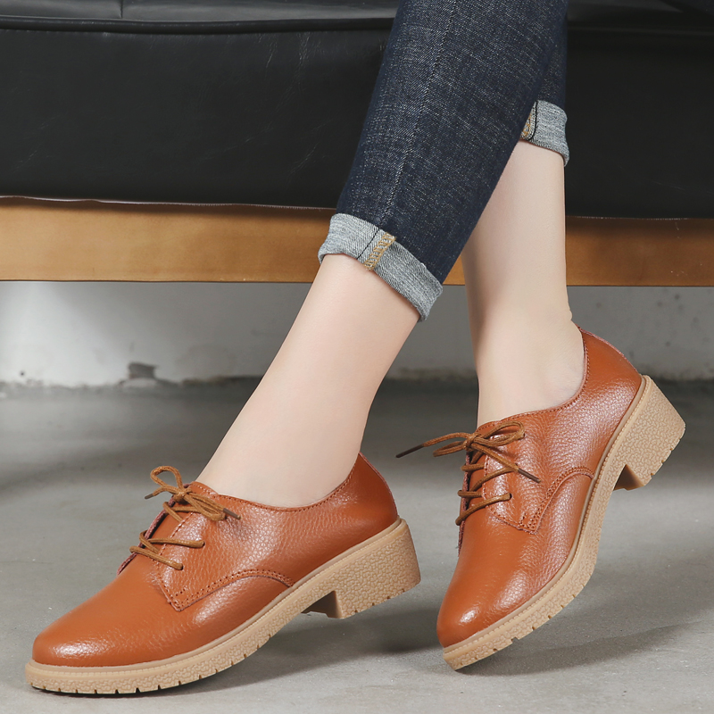 Image 2 - OUKAHUI Autumn New Fashion Small Size 33 41 British Style Oxford Shoes For Women Genuine Leather Square Heel 3.5cm Casual Shoes-in Women's Flats from Shoes