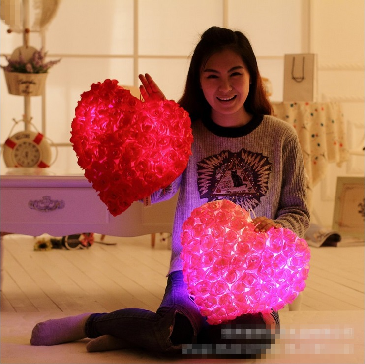2017 New Arrival Rose Style Led Pillow Cute Luminous Pillow Cushions Glowing Soft Plush Toy Romantic Birthday Gifts