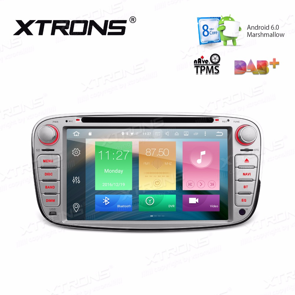 XTRONS 2 Din 7'' Radio Octa Core Android 6.0 Car DVD Player GPS DAB+OBD for Ford Focus II 2008 2009 2010 2011 Mondeo C Max S Max